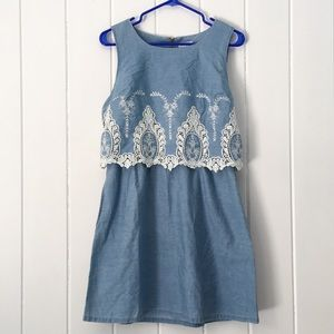 Maison Jules Dresses - Maison Jules Embroidered Chambray Pop Over Dress